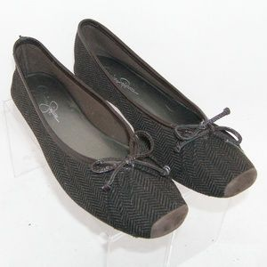 Jessica Simpson 'Leve' brown bow flats 8.5M